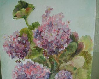 Vintage Original Oil Painting,  Naive Oil Painting, Hydrangea Flowers,  Very Charming, Shabby Cottage, Cottage Chic, Small Painting