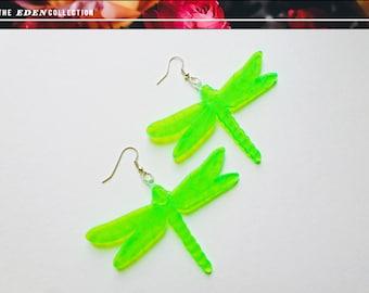 Glowing Acrylic Dragonfly Earrings