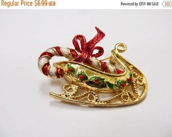 On Sale Retro Sparkling Enameled Christmas Sled Pin Item K # 3165