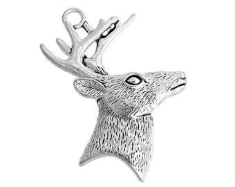 x 1 large deer head 65 charm pendant