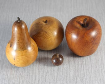Set of Hand Turned Fruits Wooden Apples  Pear and Tiny Cherry Ornament Turned Wood