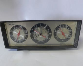 Vintage Airguide Weather Station Thermometer Barometer Black Table top 1950's Mid-Century Weather Gage