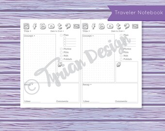 Content Planning for Midori Traveler's Notebook, All Sizes, Statistics, Planning of Social Media and other content