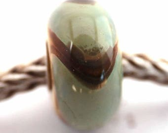 murano lampwork glass bead SRA artist handmade euro big hole bead lined with Sterling Silver armadillo - Made To Order - S915