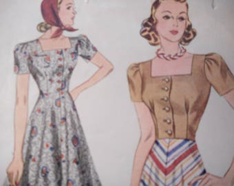 SALE Vintage 1940's Simplicity Bodice, Shorts and Skirt Sewing Pattern Size 12 Bust 30