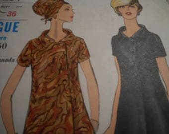 Vintage 1960's Vogue 7234 Dress Sewing Pattern Size 12 Bust 34