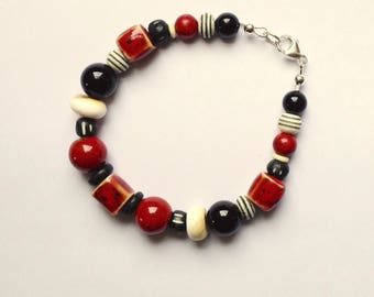 Mens Red, Black and White Beaded Bracelet 8 1/2 Inches