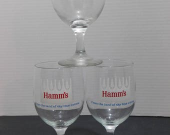 Vintage Set of 3 HAMM'S Beer Glasses
