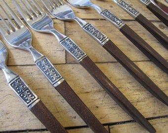 1960's Ekco Eterna LaJoya Danish Modern Style Flatware Set, 38 Pieces, Teak Flatware, Eko Eterna, La Joya, Stainless Steel, Japan, MCM