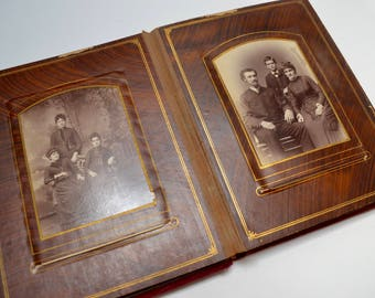 vintage victorian photo album: red velvet, pages  with 18 cabinet cards, 6 CDV photos