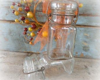 vintage small canning jars set of 2 mason jars with glass lids wire bails fruit jars antique jars
