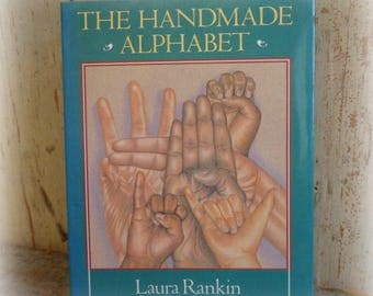 the handmade alphabet book by laura rankin sign language ABC's illustrations vintage book illustrated sign language ASL Deaf culture