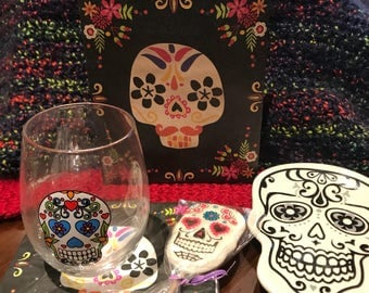 Day of the Dead Gift Set with Wine Glass and Skull Plate