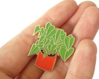 House Plant Enamel Pin Badge, Badger keen gardener, green
