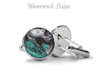 Mens Cufflinks - Contemporary Marble Design - Gift For Him