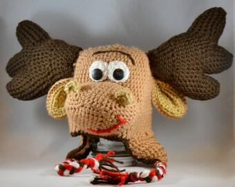 Custom Size Moose Hat - Moose Character Hat - Crochet Moose Cap - Stuffed Moose Hat - Christmas Moose Crochet Earflap Hat - Character Hat