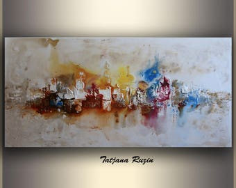 Abstract City Painting, ORIGINAL Art, Wall Art, Colorful Modern, Skyline, acrylic Painting, Wall Art, Christmas, Gift, Made to order