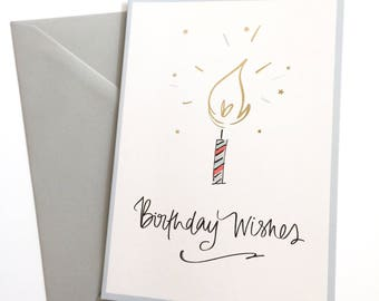 Birthday Wishes - Birthday card - Candle Gold Foil detail