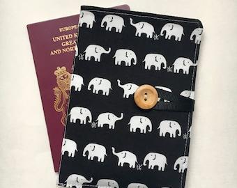 Passport cover case cute mini elephant white on black fabric wooden button passport holder elephant inner pockets