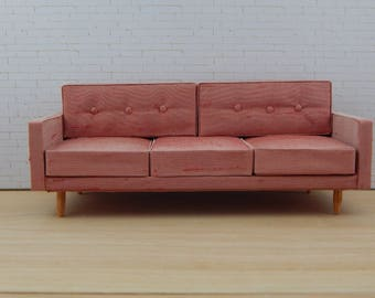 1:12 Scale Mid-Century Modern Inspired Sofa in Iridescent Silk
