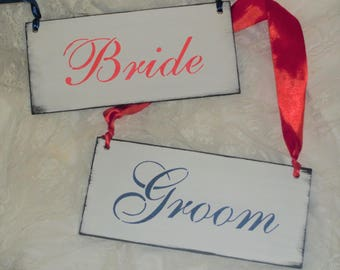 Wedding Signs, 2 pc set,  wedding lot, decor, chair signs, photo props shower gift, bride, groom rustic blue and red wedding wood signs