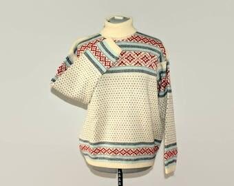 80s Norwegian sweater. Wool sweater. Vintage ski sweater. Fair Isle sweater. Unisex sweater. Charles Wolf sweater. Winter sweater. Christmas