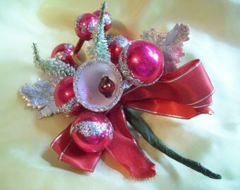 Vintage Christmas Corsage Red Mercury Balls Sugar Bell Bottle Brush Trees circa 1950's