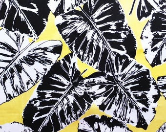 Banana Leaf Printed Cotton Sateen Woven Fabric with Stretch - Yellow Black and White Leaves Print - Sold by the metre