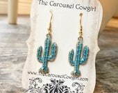 Cactus Earrings, Green Cactus Earrings, Green and Gold Cactus, Patina Cactus, Southwest Earrings, Southwest Jewelry, Cactus Jewelry