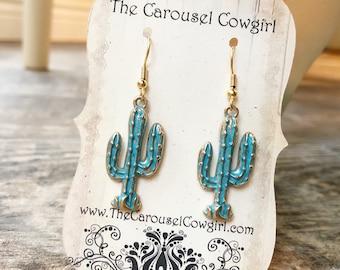 Cactus Earrings, Green Cactus Earrings, Green and Gold Cactus, Patina Cactus, Southwest Earrings, Southwest Jewelry, Cactus Jewelry