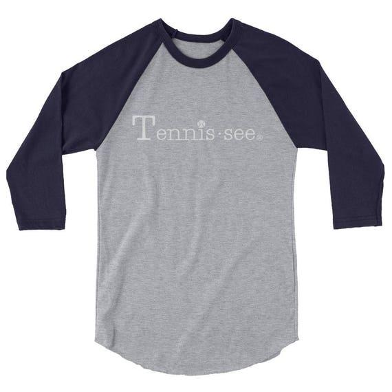 Tennis.see® Unisex Tennessee Tennis shirt tee tshirt 3/4 sleeve raglan shirt