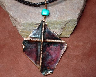 copper cross pendant, foldformed copper cross, textured cross,