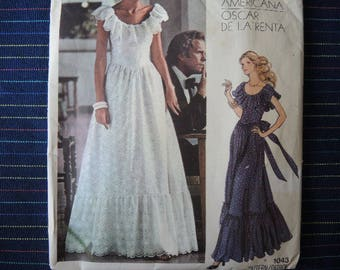 vintage 1980s Vogue Americana Oscar De La Renta sewing pattern 1043 misses evening dress size 14