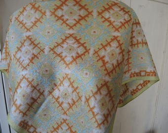 Vintage 1970s acetate crepe scarf geometric squares made in Italy 26 x 27 inches