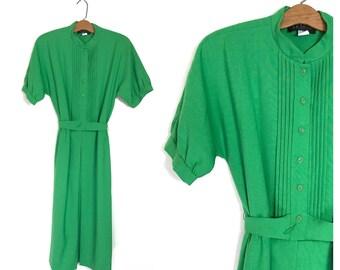 Vintage 70's Dress Green 60's Dress Midi Shift Wool L