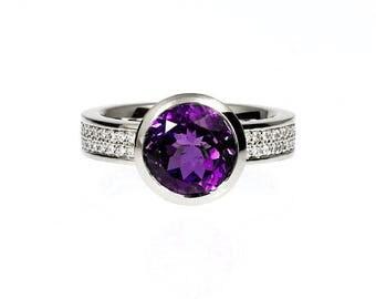 Amethyst engagement ring, diamond ring, wide engagement ring, Palladium, palladium engagement, purple ring, bezel, diamond pave, custom