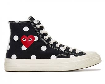 Black Converse comme des garcons Play High Top Dot Lady Men w/ Swarovski Crystal Rhinestone Chuck Taylor All Star Sneakers Trainer Shoes