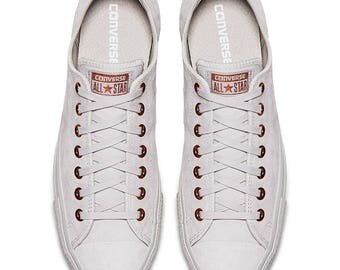 Gray Converse Blush Pink Gold Wedding Suede Leather Low Top Chuck Taylor w/ Swarovski Crystal Bling Rhinestone Grey All Star Sneaker Shoes