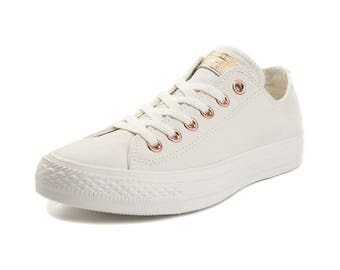 Leather Converse Lux Ivory Cream Blush Pink Gold Wedding Low Top Chuck Taylor w/ Swarovski Crystal Rhinestone Jewels All Star Sneaker Shoes