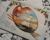 ON SALE Vintage Happy Birthday Greeting Card & Envelope 1940s 1950s Unused Die Cut Artist's Palette of Wishes Mixed for You Galleon Ship at
