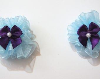 Blue and Plum Dog Hair Bows