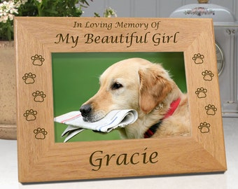 Personalized Pet Frame Loss of Dog - In Loving Memory Of My Beautiful Girl ..or.. In Loving Memory Of Our Beautiful Girl