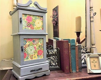 Large Upcycled Vintage Wood Jewelry Box/Armoire, Hand Painted In Distressed Gray With Flower Doors