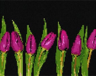 Needlepoint Kit or Canvas: Row Of Tulips