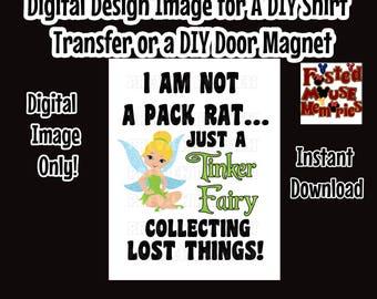 Tinkerbell Inspired Fairy Iron On Transfer Image – DIY Tinkerbell Shirt – Fairy Shirt Image DIY Disney Fairy Shirt Transfer Image