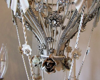 Hot air balloon chandelier lighting white embellished high end rhinestone vintage antique jewelry ornate light ooak & Etsy :: Your place to buy and sell all things handmade azcodes.com