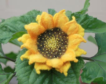 Felted  Sunflower  / yellow felted flower embroidered with beads