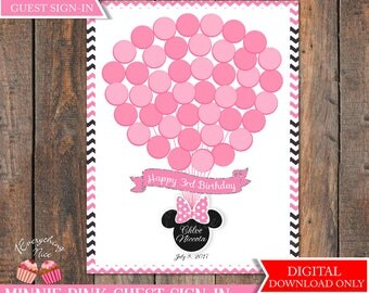 Pink Minnie Mouse Happy Birthday Guest Sign-In
