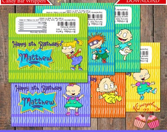 Rugrats Candy Chocolate Hershey Hersheys Bar Wrappers Labels PERSONALIZED Digital Download