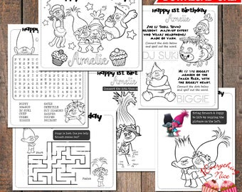 Trolls Birthday Coloring and Activity Pages Digital Download